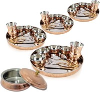 Dungri India Craft Traditional Dinner Set Of 4 - Thali Set (Dinner Plate, Cutlery, Bowls, And Glass) With 1 Serving Bowl Tureen Pack Of 41 Dinner Set (Copper)