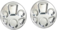 King Traders TULSI -Stainless Steel Six Compartment Dinner Plate/Mess Plate/Party Plate/Snack Plate/Gurudwara Plate-34 Cm Set Of 2pcs Dinner Set (Stainless Steel)