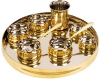 Atalso Luxury-10 Pc Copper Thali Set Dinner Set (Copper, Stainless Steel)