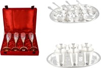 Silver Wilver 4 Queen Vine Glass, Manchurian Bowl And Mayuri Glass Set Pack Of 24 Dinner Set (Silver Plated)