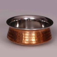 King Traders TULSI - Traditional Designer Doubled Metal Walled Handcrafted Copper Serving Pot/ Handi/ Serving Vessel - Medium 15 Cm Dinner Set (Copper)