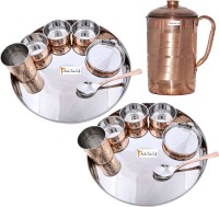 Prisha India Craft Indian Traditional Dinnerware Stainless Steel Copperware Thali ,Set Of 2 - Diameter 13 Inch - Diwali Gift Pack Of 15 Dinner Set (Copper) - DNSEG7TYXKQZGB2P