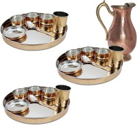 Dungri India Craft Set Of 3, Indian Dinnerware Stainless Steel Copper Traditional Dinner Set Of Thali Plate, Bowls, Glass And Spoon (Dia 13 Inch) With 1 Embosed Pitcher Jug Pack Of 22 Dinner Set (Copper)