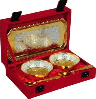 Odna Bichona Silver And Gold Plated Brass Bowl Set Pack Of 5 Dinner Set (Brass)