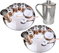 Prisha India Craft Indian Traditional Dinnerware Stainless Steel Copperware Thali ,Set Of 2 - Diameter 13 Inch - Diwali Gift Pack Of 15 Dinner Set (Copper) - DNSEG7TR87GYFCPU