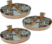 Prisha India Craft Large Dinnerware Stainless Steel Copperware Platter Pack Of 21 Dinner Set (Copper)