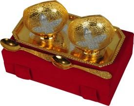 Shreeng Silver And Gold Plated Brass Bowl 5 Pcs Set Brass Decorative Platter