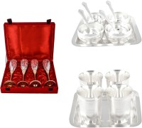 Silver Wilver 4 Queen Vine Glass, Manchurian Bowl And Juli Diamond Glass Set Pack Of 18 Dinner Set (Silver Plated)