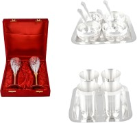 Silver Wilver 2 Queen Vine Glass Set, Manchurian Bowl Set And Mayuri Glass Set Pack Of 16 Dinner Set (Silver Plated)