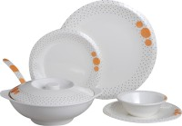 Czar Dine Smart Bold 32 Pcs Dinner Set 207 (Melamine, White, Orange)