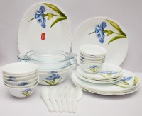 La Opala Royal Iris Pack Of 35 Dinner Set (Ceramic)