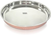Dungri India Craft Indian Dinnerware Stainless Steel Copperware Thali - Diameter 12 Inch Dinner Set (Copper)