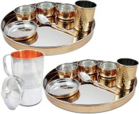 Dungri India Craft Copper Thali Set Of 2, Set Of Thali Plate, Bowls, Glass And Spoon (Dia 13 Inch) With 1 Embosed Pitcher Jug Pack Of 15 Dinner Set (Copper)