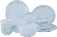 Corelle Essential Series Country Cottage Dinner Set 30-CC (Glass, White, Green)