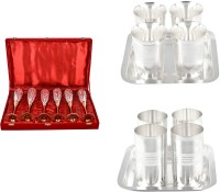 Silver Wilver 6 Queen Vine Glass, Juli Diamond Glass And Amrapali Glass Set Pack Of 16 Dinner Set (Silver Plated)