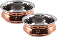 King Traders TULSI - Traditional Designer Doubled Metal Walled Handcrafted Copper Serving Pot/ Handi/ Serving Vessel - Set Of 2 Pcs (Large, Medium) 17.5 Cm, 15 Cm Dinner Set (Copper)