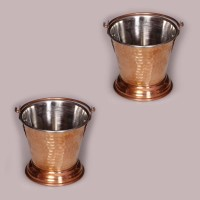 King Traders TULSI - Traditional Designer Copper Curry Bucket/ Daal Balti/ Double Metal Walled/Outside Copper Inside Steel Set Of 2 Pcs Dinner Set (Copper)