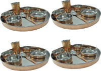 Prisha India Craft Large Dinnerware Stainless Steel Copperware Platter Pack Of 28 Dinner Set (Copper)