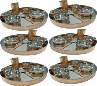 Prisha India Craft Large Dinnerware Stainless Steel Copperware Platter Pack Of 42 Dinner Set (Copper)
