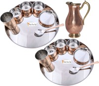 Prisha India Craft Indian Traditional Dinnerware Stainless Steel Copperware Thali ,Set Of 2 - Diameter 13 Inch - Diwali Gift Pack Of 15 Dinner Set (Copper) - DNSEG7GFSRJUHHVW