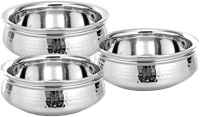 King Traders TULSI - Stainless Steel Serving Handi/Serveware Set Of 3 Pcs Small, Medium And Large With Dimension (20 Cm +17.5 Cm +15 Cm ) Dinner Set (Copper)