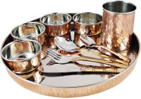 Dungri India Craft Dinnerware Service For 1, Copper Stainless Steel Large Dinner Plate, Cutlery, Bowls, And Glass ( 1 Thaliset ) Pack Of 10 Dinner Set (Copper)