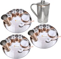 Prisha India Craft Indian Traditional Dinnerware Stainless Steel Copperware Thali ,Set Of 3 - Diameter 13 Inch - Diwali Gift Pack Of 22 Dinner Set (Copper) - DNSEG7TYXJBUKKUM