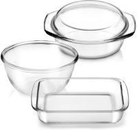 Treo Universal Borosilicate Square Dish Round Bakeware Pack Of 3 Dinner Set (Glass)