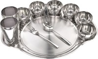 King Traders TULSI -Stainless Steel Rajwada Diner Set Of 11pcs(1 Rajwada Plates, 6 Bowl, 2 Glass, 1 Spoon, 1 Fork) Dinner Set (Stainless Steel)