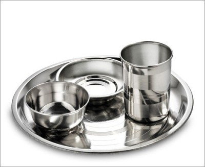 King Traders TULSI - Stainless Steel Dinner Set Of 4pcs(Full Plate, Curry Bowl, Spoon, Glass) Dinner Set (Stainless Steel)
