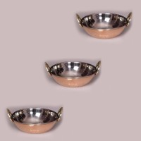 King Traders TULSI - Traditional Designer Doubled Metal Walled Copper Hammered Wok/ Copper Hammered Kadhai/ Cooking And Serving Vessel Set Of 3 Pcs Dinner Set (Copper)
