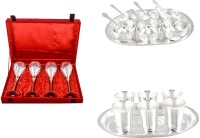 Silver Wilver 4 Prince Vine Glass, Manchurian Bowl And Mayuri Glass Set Pack Of 24 Dinner Set (Silver Plated)