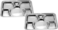 King Traders TULSI -Stainless Steel Six Compartment Dinner Plate/Mess Plate/Party Plate/Snack Plate/Gurudwara Plate-39.5 Cm Set Of 2pcs Dinner Set (Stainless Steel)