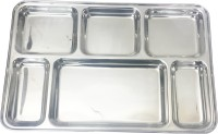 King Traders TULSI -Stainless Steel Six Compartment Dinner Plate/Mess Plate/Party Plate/Snack Plate/Gurudwara Plate-36.8 Cm Dinner Set (Stainless Steel)