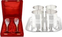 Silver Wilver 2 Queen Vine Glass Set And Amrapali Glass Set Pack Of 7 Dinner Set (Silver Plated)