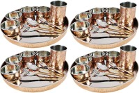 Dungri India Craft Dinner Set, Service For 4, Copper Stainless Steel Large Dinner Plate, Cutlery, Bowls, And Glass ( 4 Thaliset ) Pack Of 40 Dinner Set (Copper)