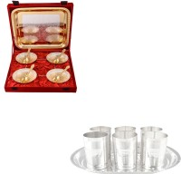 Silver Wilver Silver Plated Bowl Set Glass Set Pooja Plate And Articles Dealer Silver Wilver Silver & Gold Plated 4 Heavy Flower Bowl And Amrapali Glass Set Pack Of 16 Dinner Set (Silver Plated)
