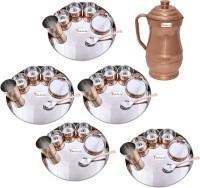 Prisha India Craft Indian Traditional Dinnerware Stainless Steel Copperware Thali ,Set Of 5 - Diameter 13 Inch - Diwali Gift Pack Of 36 Dinner Set (Copper) - DNSEG7TSW3SUPSVR