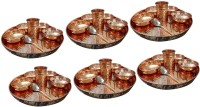 AsiaCraft Dinnerware Pure Copper Traditional Dinner Set Of Thali Plate, Bowls, Glass And Spoon, Diameter 12 Inch, Set Of 6 Pack Of 48 Dinner Set (Copper)