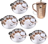 Prisha India Craft Indian Traditional Dinnerware Stainless Steel Copperware Thali ,Set Of 5 - Diameter 13 Inch - Diwali Gift Pack Of 36 Dinner Set (Copper)