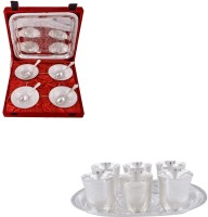 Silver Wilver 4 Mor Bowl And Juli Diamond Glass Set Pack Of 16 Dinner Set (Silver Plated)
