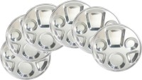 King Traders TULSI -Stainless Steel Six Compartment Dinner Plate/Mess Plate/Party Plate/Snack Plate/Gurudwara Plate-34 Cm Set Of 6pcs Dinner Set (Stainless Steel)