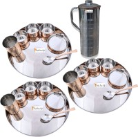 Prisha India Craft Indian Traditional Dinnerware Stainless Steel Copperware Thali ,Set Of 3 - Diameter 13 Inch - Diwali Gift Pack Of 22 Dinner Set (Copper) - DNSEG7TYZZ83EV2A
