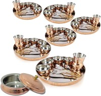 Dungri India Craft Copper Dinnerware Set Of 6 - Thali Set (Dinner Plate, Cutlery, Bowls, And Glass) With 1 Serving Bowl Tureen Pack Of 61 Dinner Set (Copper)