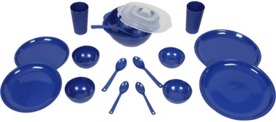 Cuttingedge Dinner Set For 2. Set Consists Of 2 Dinner Plates, 2 Quarter Plates, 2 Big Bowls, 2 Small Bowls, 2 Table Spoons, 2 Teaspoons, 2 Tumblers, 1 Square Dish, 1 Deep Curry Ladle. 16 Pc Set With The Option Of Gift Pack DSsq5_Bl - Polypropylene, Blue