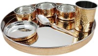 Dungri India Craft Indian Dinnerware Stainless Steel Copper Traditional Thaliset( Thali, Spoons, Tumblers, Serving Bowls, Dessert Bowls) Pack Of 7 Dinner Set (Copper)