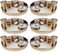 Dungri India Craft Dinnerware Stainless Steel Traditional Thaliset ,Set Of 6 ( 6 Thali, 6 Spoons, 6 Tumblers, 18 Serving Bowls, 6 Dessert Bowls) Pack Of 42 Dinner Set (Copper)