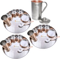Prisha India Craft Indian Traditional Dinnerware Stainless Steel Copperware Thali ,Set Of 3 - Diameter 13 Inch - Diwali Gift Pack Of 22 Dinner Set (Copper)