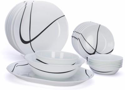 Corelle India Impressions Twists & Turns 21 Pcs Dinner Set 21-TT-NDS - Glass, White, Black