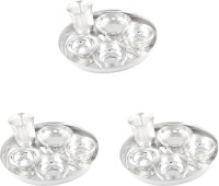 GS Museum Silver Plated 3 Dinner Set (Size-25 CM) Pack Of 21 Dinner Set (Silver Plated)